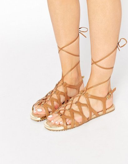 Aldo Lidia Cognac Gladiator Flat Sandals