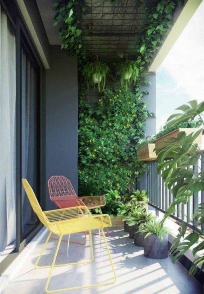 Balkon z wysokim sufitem może zamienić się w prywatną dżunglę