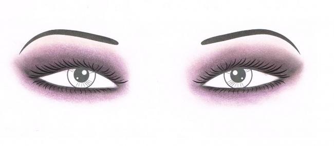 Ciemny cień nałożony dookoła, optycznie pomniejszy duże oczy.