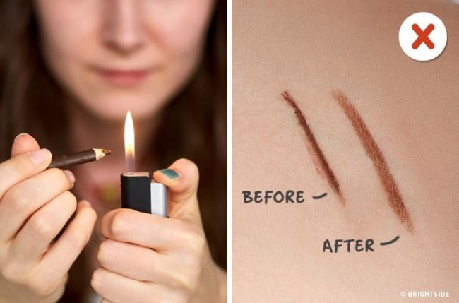 Zamienienie kredki do oczu w ciekły eyeliner za pomocą ogrzewania kredki ogniem? Jak dla nas, efekt jest SŁABY!