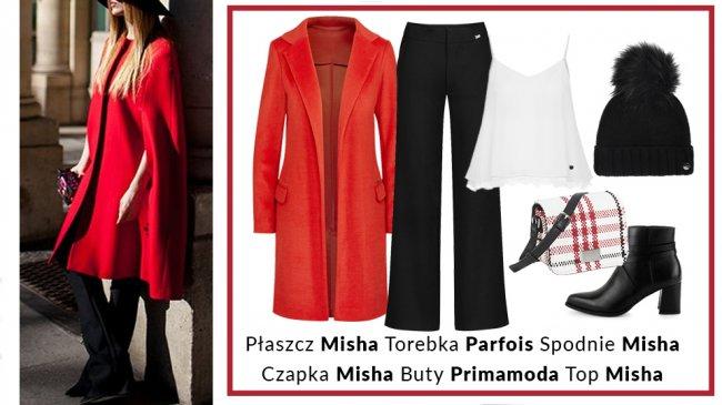 Długi czerwony płaszcz zestawimy z klasycznymi czarno-białymi ubraniami i akcesoriami. Proste, spodnie z rozszerzanymi nogawkami, które na dobre powróciły do łask, z białym topem na ramiączka z romantycznym elementem koronki dają romantyczny.  Mała torebka jednocząca wszystkie te trzy kolory w jednym miejscu będzie świetnym wyborem.
